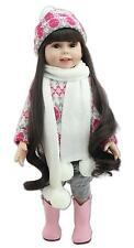 "22"" Silicone Baby Reborn Doll Lifelike Winter  Dress Hat Doll Girl Birthday Gift"