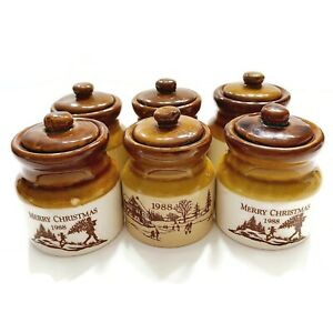 Lot of 6 Vintage Christmas Stoneware Pot Crock Jars / Lids 1988 Collectible Xmas