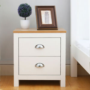 Modern Bedside Cabinet Wooden Bedroom Table 2 Drawer Night Stand Shell Handles