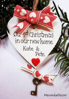 New Home 1st Christmas Novelty gift- Personalised Handmade- White