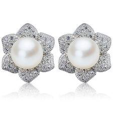 Agua Dulce Perla 925 pendientes de Plata Blanco Marfil Nupcial Flor Tachuelas Art Deco