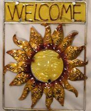 "Welcome Wall Plaque Suncatcher Metal Sun Face Yellow Glass Patio Yard 27"" Length"