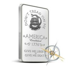 Don't Tread on Me - Eternal Vigilance 1 oz .999 Silver USA Made Bullion Bar