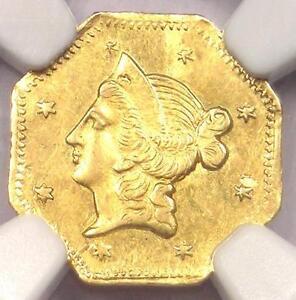 1853 Liberty California Gold Dollar Coin $1 BG-526 R6. NGC UNC Det MS - Rarity-6