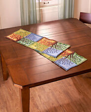 Four Seasons Colorful Tapestry Table Runner Abstract Tree Table Linens