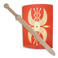 WOODEN ROMAN SOLDIER GLADIATOR SHIELD & WOODEN ROMAN GLADIUS SWORD ROLE PLAY TOY