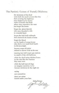 JOHN DORSEY  THE PATRIOTIC GUTTERS OF PURCELL, OKLAHOMA  SIGNED POETRY BROADSIDE