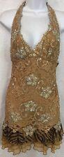 Nurielle Dress Brown Rhinestone Embellished Cheetah Ruffle Halter Size Small