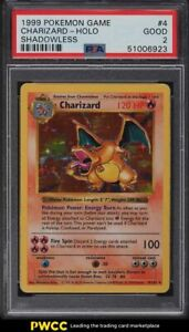 1999 Pokemon Base Set Shadowless Holo Charizard #4 PSA 2 GD