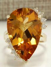 14.31 Carat Natural Citrine 14K Yellow Gold Diamond Ring