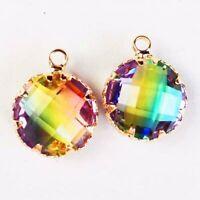 2Pcs Wrapped Faceted Rainbow Titanium Tourmaline Crystal Round Pendant Bead