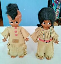 2 Vintage Knickerbocker Native American Indian Dolls Boy/Girl With Suede Outfits