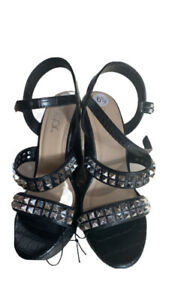 women's sugar brand size 6 1/2 Studded wedge shoes black