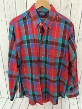 VTG WOOLRICH Brushed Flannel Plaid Button Front Long Sleeve Shirt Large H3