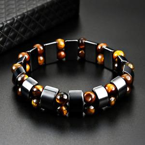 Double Hematite Tiger's Eye Natural Bracelets Men Women Charm Bracelets Jewelry
