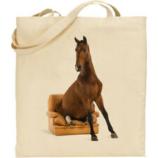 CS Funny Horse sitting in chair print cotton shopping/shoulder/beach/tote bag