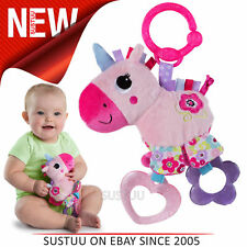 Bright Starts Sparkle N Shine Unicorn│Clip On Pram/Pushchair Soft Toy│With Sound