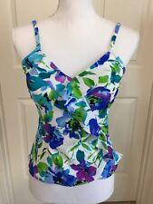 NWT $62 Ladies Caribbean Joe size 8 tankini top, multi color swimsuit