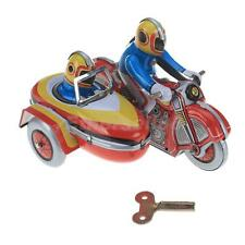Vintage Wind Up Riders on Motorcycle w/ Sidecar Clockwork Tin Toy Gift