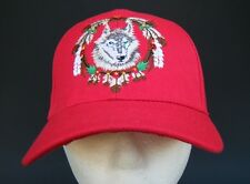 RED BASEBALL CAP WILD WOLF ANIMAL FEATHER NATIVE INDIAN CHAPEAU CASQUETTE