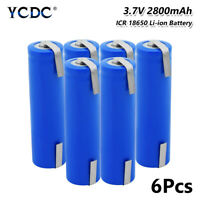 6Pcs 18650 Battery 3.7V 2800mAh Rechargeable With Tabs For Torch LED Light Toy