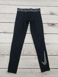 Nike Dri Fit Boys Compression Leggings Pants Black and White Size Medium P8