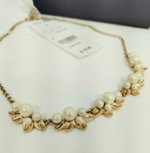 BROOKS BROTHERS PEARL Gold Tone NECKLACE CHOKER Box NWT