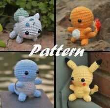 Pokemon Amigurumi Patterns. Digital patterns sent to your e-mail, 4 included.