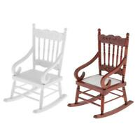 2 Pieces 1/6 Scale Dollhouse Mini Rocking Chair Model Baby Doll Furniture