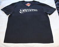 DC Comics Superman Script Logo Mens Black Printed T Shirt Size 4XL New