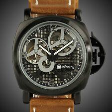 INFANTRY Mens Skeleton Mechanical Wrist Watch Army Police Design Sport Leather