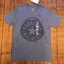 NWT Authentic Men's Converse All Star Drum Short Sleeve Tee Blue XS