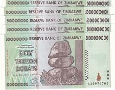 5 X ZIMBABWE 50 TRILLION DOLLARS UNCIRCULATED AA/2008  / $100 Trillion Series