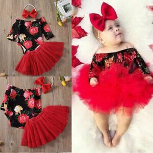 Newborn Baby Girl Clothes Romper Jumpsuit+Tutu Skirt+Headband Outfit 3Pcs Set