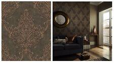 Arthouse Valdina Bronze Damask Heavy Glitter Brown Wallpaper, 292001 SAMPLE ONLY