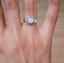 Elegant 925 Sterling Silver Rings With Real Indian Rainbow Moonstone - RRP £50