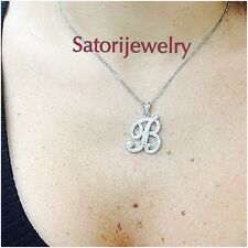 Sterling Silver Initial B Pendant Necklace bridal Gift Free Chain Script