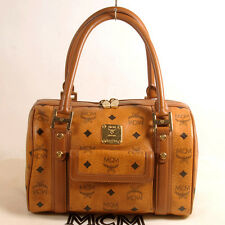 AUTHENTIC MCM Cognac Visetos Boston Tote Bag + Dust Bag