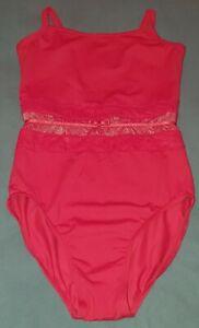 Bloch / Mirella Red Lace Ribbon Leotard. Size Small