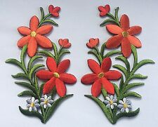 FLOWER PATCH X 2, RED with White Daisies, matching pair; SEW-ON/IRON-ON