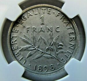 France 1 Franc 1898 Matte Proof, NGC PF62 Matte.