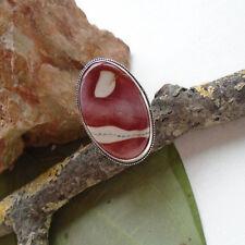 Mookait Jaspis, rot - braun, beige, oval, Ring, Ø 18,0 mm, Silber plattiert, neu