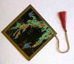Vintage Bridge Tally Art Deco Berry Tree Butterfly Gold Trim