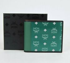 MCM Green Eden Nylon Leather Reflective Monogram Bifold Wallet MXS9ARA15G5001