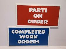 """Parts On Order"" & ""Completed Work Orders"" Etched Sign - 3"" x 6.5"""