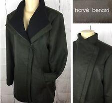 Harve Bernard Coat Jacket Full Zip Shawl Neck Mock Wool Blend Green Women Sz L