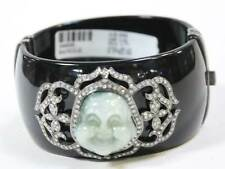 Black Bakelite Bangle Bracelet Sterling Silver Diamonds Jade