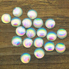 New 40pcs Resin Shell Round Flower 10mm Flatback For DIY Phone Craft White AB SS