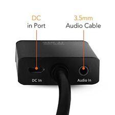 Convertitore Adattatore da HDMI a VGA 1080p  nero audio jack 3,5 mm e dc cable