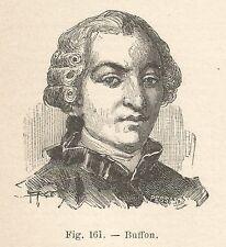 B1629 Georges-Louis Leclerc de Buffon - Incisione antica del 1924 - Engraving